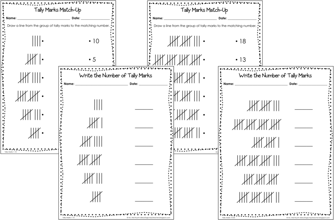 Tally Marks Practice Worksheets Differentiated