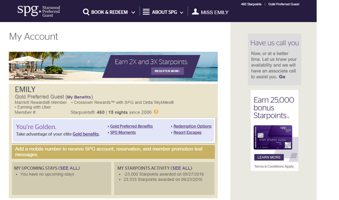 All the Right Points Amex Platinum Provides SPG Gold in