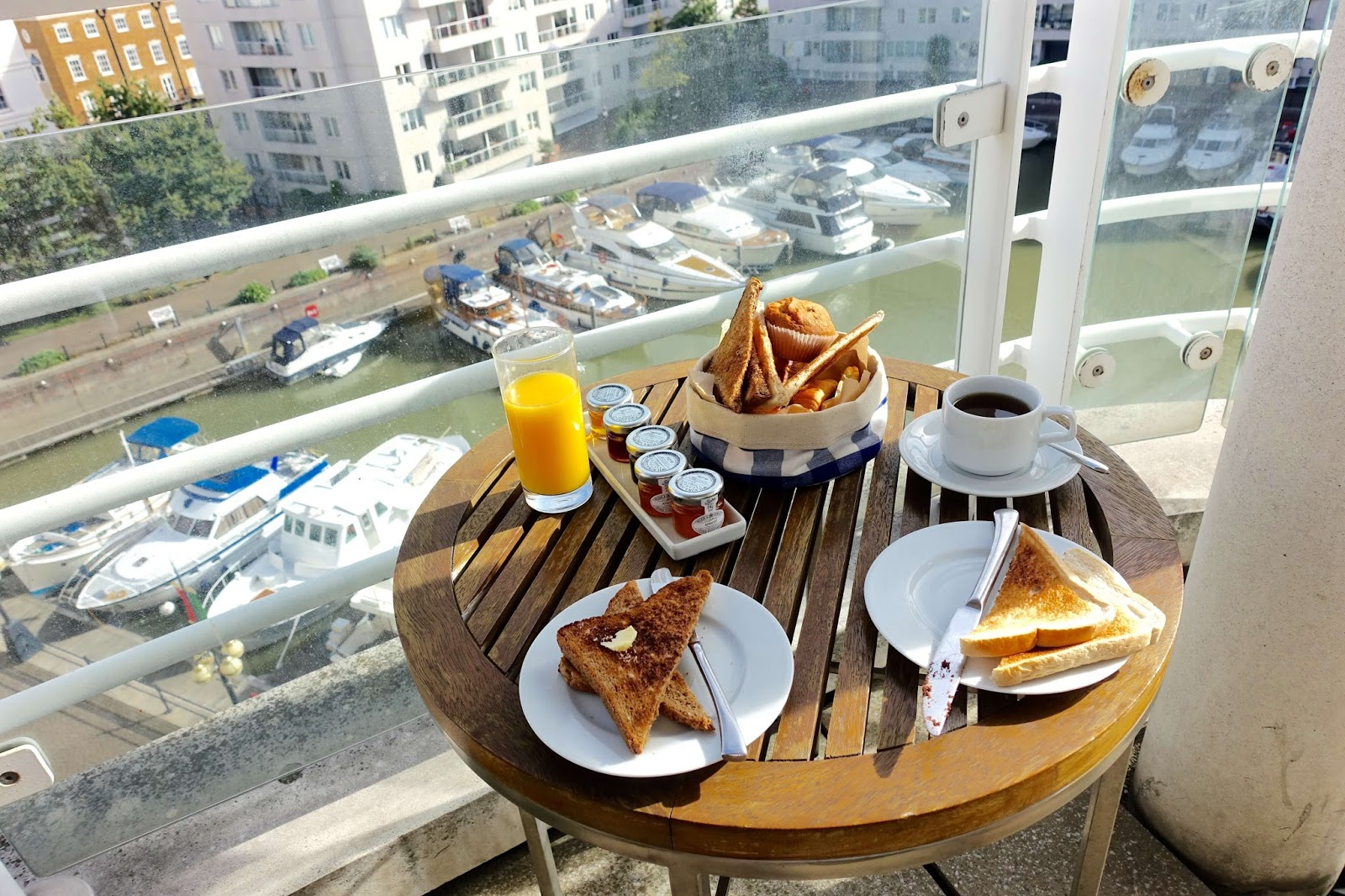inroom breakfast on our balacony in our marina king suite at chelsea harbour hotel