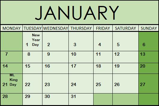 2019 Monthly Calendar in Excel