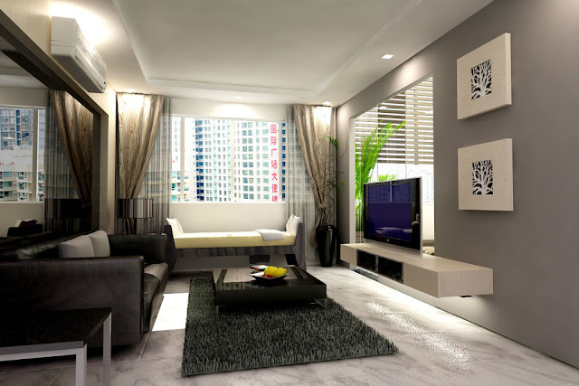 Desain ruang tamu dari rumah minimalis type 45