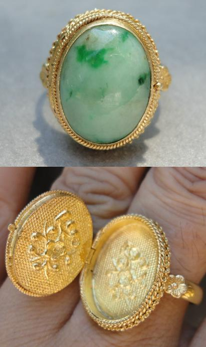 Vintage Chinese sterling silver and apple green jadeite jade poison ring.