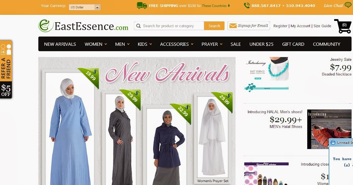 Top five abayas jilbab hijab modest muslim islamic for Best international online shopping sites