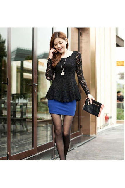 Elegant Women Lace Blouse Long Sleeve Peplum Slim Basic Shirt Tops Black