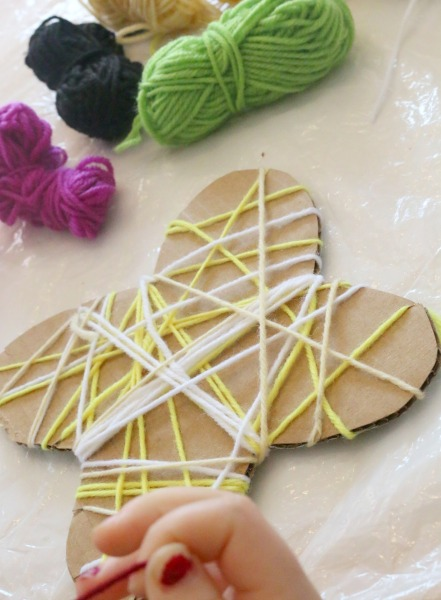 yarn wrapping butterfly craft for kids