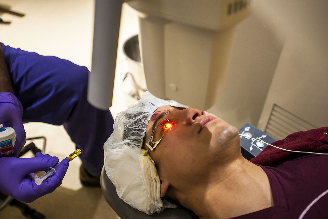 FDA has approved corneal collagen crosslinking for keratoconus in April 2016. this approval only covers the crosslinking products developed by Avedro, which include Photrexa Viscous and Photrexa (riboflavin ophthalmic solution) and KXL System (UVA light source). (Photo: Reese Brown/DoD)
