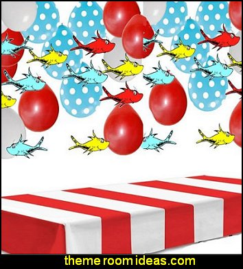 Red & White Stripes Tablecover Party Accessory dr seuss party