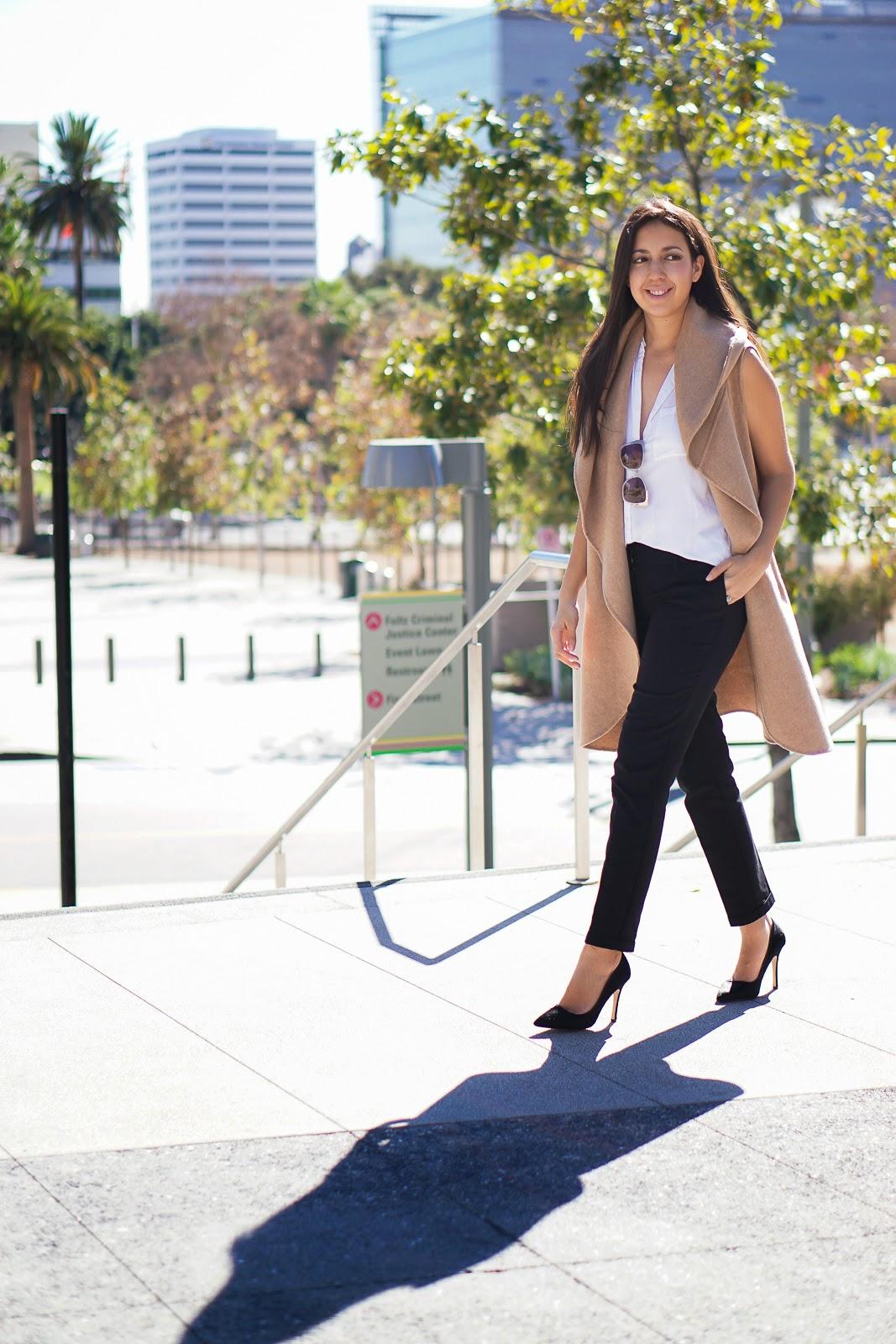 Lookbook, Zara Camel Vest, Camel Vest, Zara Vest, Shoemint Heels, Black Heels, Black Pumps, Aldo Bag, Zara Hand Made Long Waistcoat, Zara Camel Waist Coat, How to Style a Camel Vest, LA Fashion Blogger, Latina Fashion Blogger