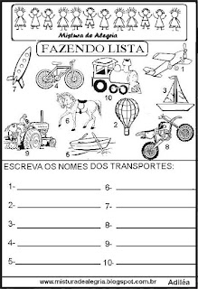 Lista de transportes grupo semântico alfabetização