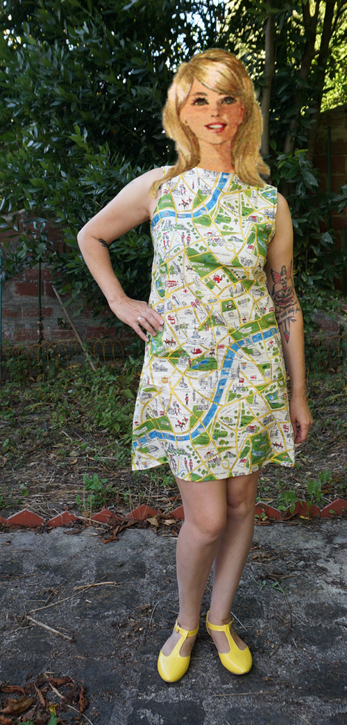 burda 7680 pattern london map fabric sleeveless dress aline sew