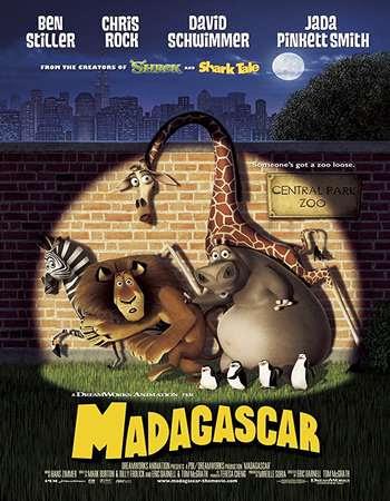 Poster Of Free Download Madagascar 2005 300MB Full Movie Hindi Dubbed 720P Bluray HD HEVC Small Size Pc Movie Only At worldfree4u.com