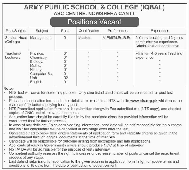 Jobs in Army Public School & College Jobs 2017