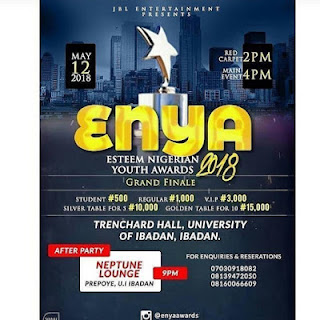 ENYA AWARDS ( ESTEEM NIGERIAN YOUTH AWARDS) 2018 SLATED SET TO HOLD ON SATURDAY MAY 12, 2018