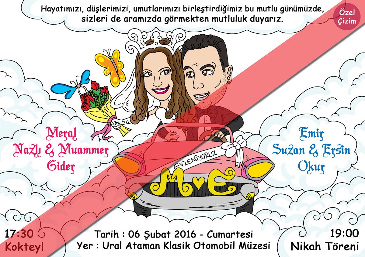 düğün davetiyesi, karikatür, karikatürlü davetiye, komik düğün davetiyeleri, Düğün Davetiyesi İçin Karikatür Çizimi, davetiye alternatifleri, davetiye, nikah davetiyesi,