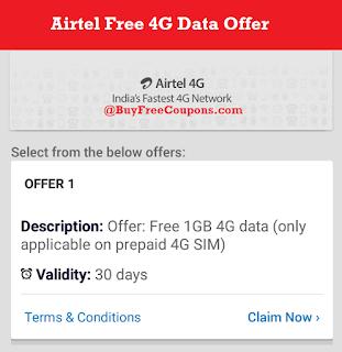 airtel free 4g data offer