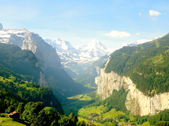 Mountain view in the Alps, from the train going from Lauterbrunnen to Jungfrau, Switzerland