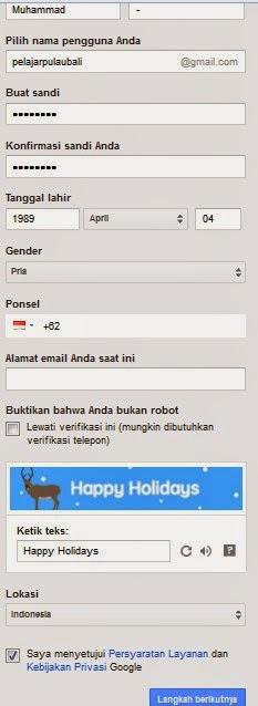 contoh email pendaftaran gmail