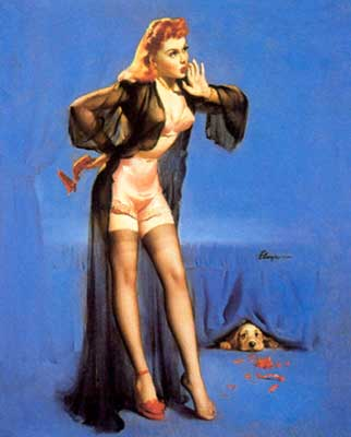 Gil Elvgren pin-up dog