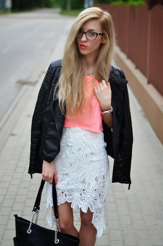 WHITE HIGH-LOW LACE SKIRT, NEON CROP TOP & BLACK LEATHER DETAILS