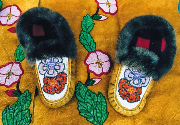 Nina Alexander: beaded mukluk slippers with a floral pattern.
