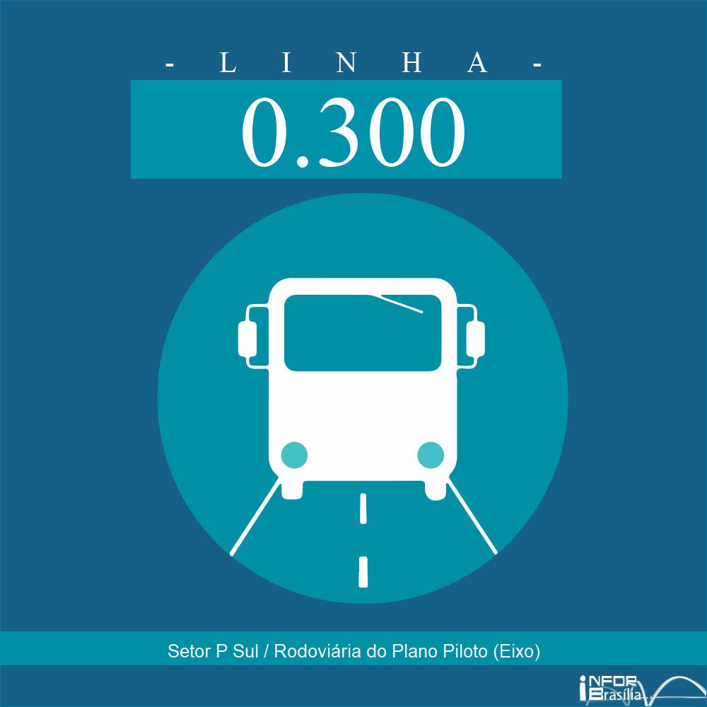Horário de ônibus e itinerário 0.300 - Setor P Sul / Rodoviária do Plano Piloto (Eixo)