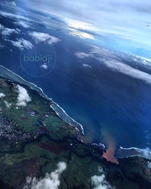 côte Est de l'Île Maurice vue du ciel au décollage