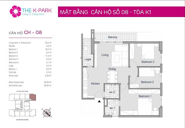 Căn hộ 93,06 m2 thông thủy chung cư The K Park Hà Đông