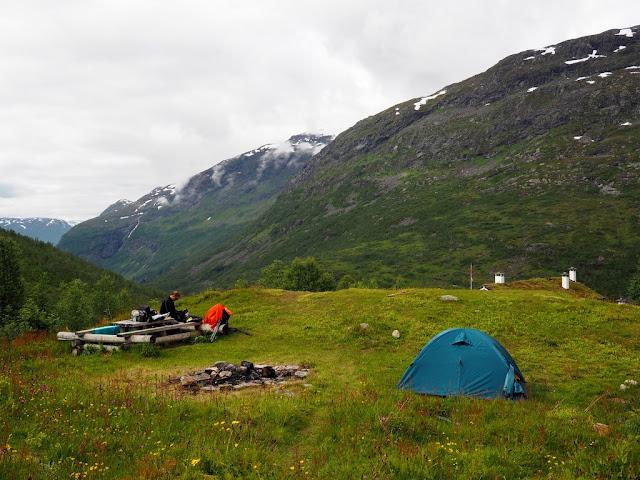 stan, stanování, chata Skogadalsbøen, Norsko, příroda, luční kvítí, ohníček, Jotunheimen