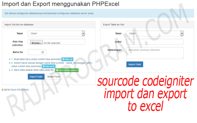 https://www.rajaprogram.com/2018/08/source-code-import-dan-export-pada-codeigniter.html
