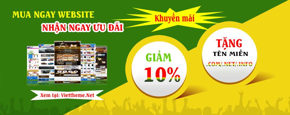 Khuyến mãi: mua giao diện website nhận ngay ưu đãi lên đến 10%
