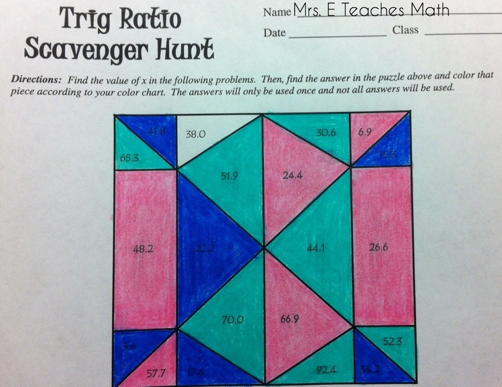 Trig Ratio Scavenger Hunt (free download) - activity for geometry students  |  mrseteachesmath.blogspot.com