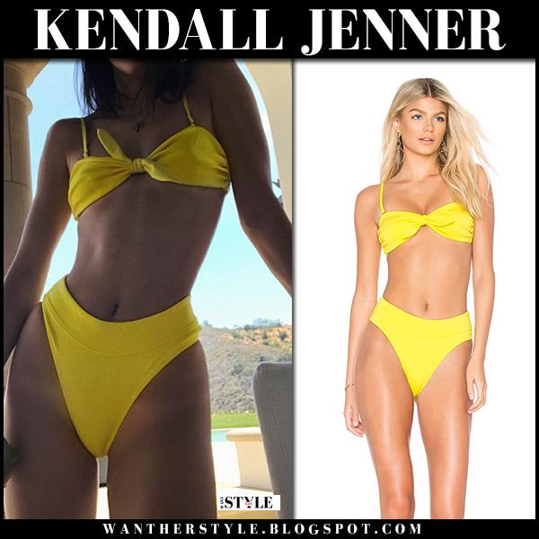 Kendall Jenner in yellow bikini beach style june 23
