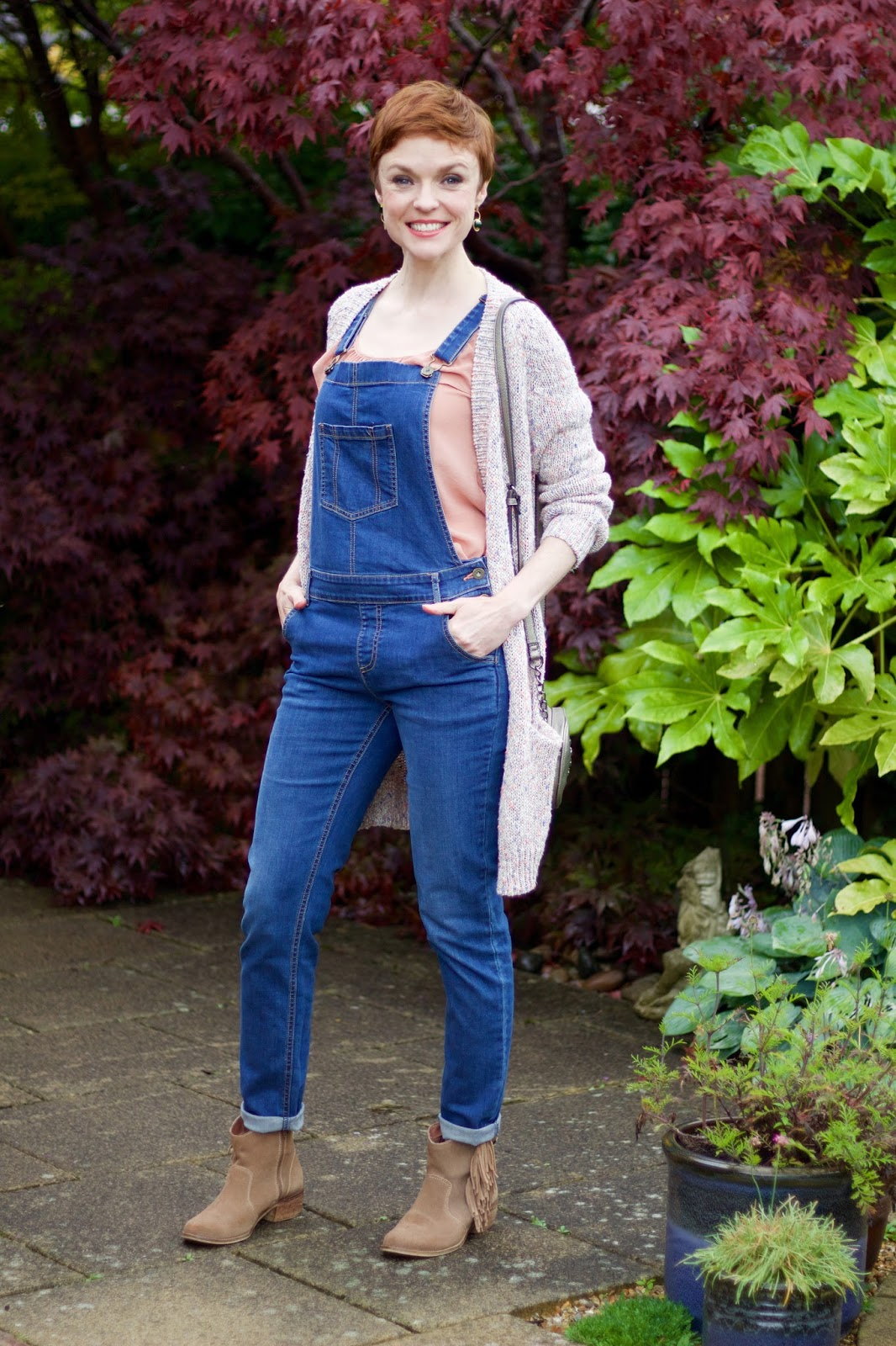 Denim Dungarees, Ruffle Top & Fringed Boots | Fake Fabulous