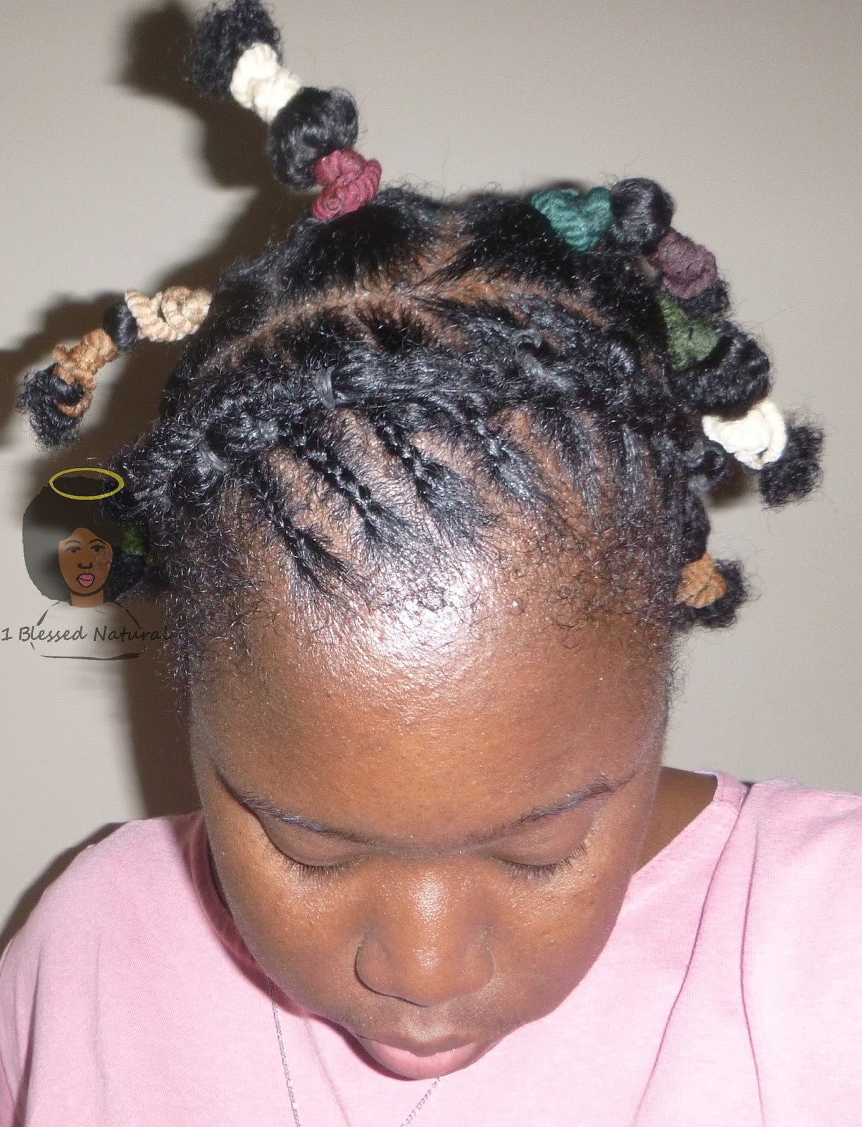 Puff And Fro With Rubber Band Twist And Cornrow Headband