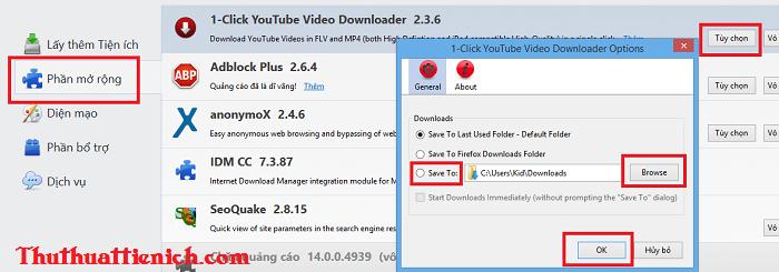 Tải video Youtube trên Firefox mọi định dạng với add-on 1-Click YouTube Video Download