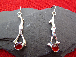 Reticulated+earrings+sterling+silver+D+ring+organic+jewellery+twig+stick+tree