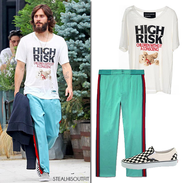 Jared Leto wearing green red stripe trousers and printed t-shirt mens streetstyle gucci vans fashion celebrity