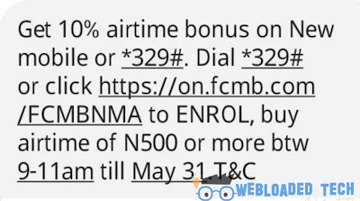 FCMB Bank Offers 10% Artime Bonuses On New mobile
