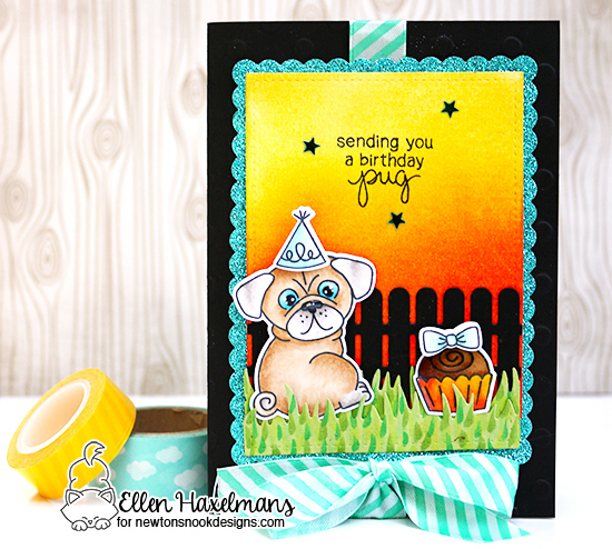 Pug Birthday Card by Ellen Haxelmans | Pug Hugs stamp set by Newton's Nook Designs #newtonsnook