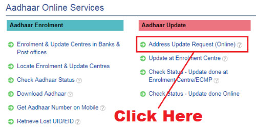how to change address in aadhar card online