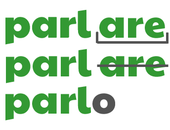 Parlare ->  Parlo PARLARE conjugated in 1st person singular present tense by ab for viaoptimae.com