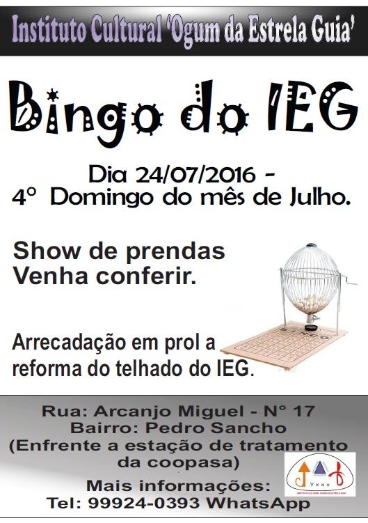 Bingo do IEG - 24/07/2016