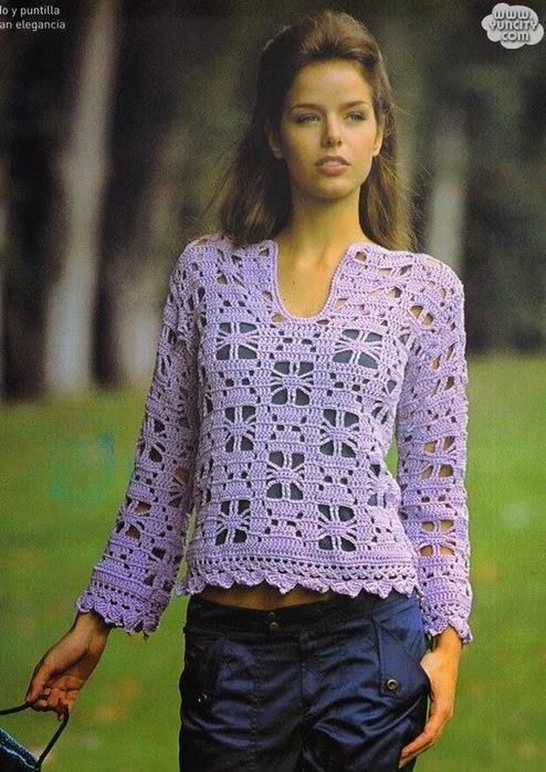 Blusa de mangas largas con un diseño original - al crochet con patrones