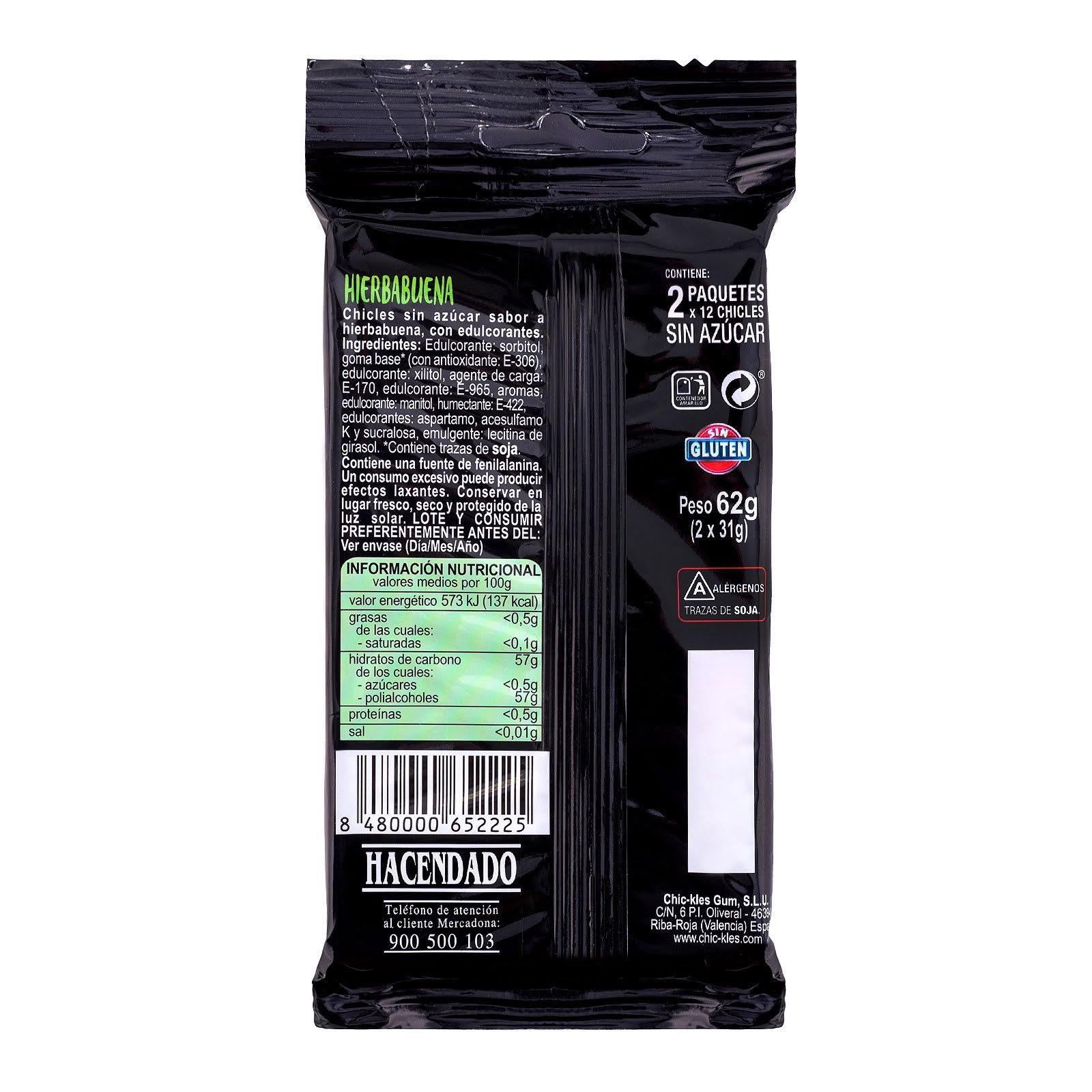 Chicles sin azúcar en láminas sabor hierbabuena Chic-Kles Hacendado