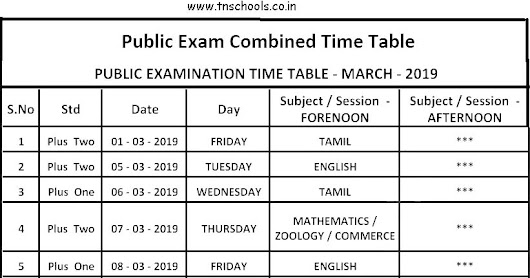 sslc plus one plus two march 2019 annual exam time table download
