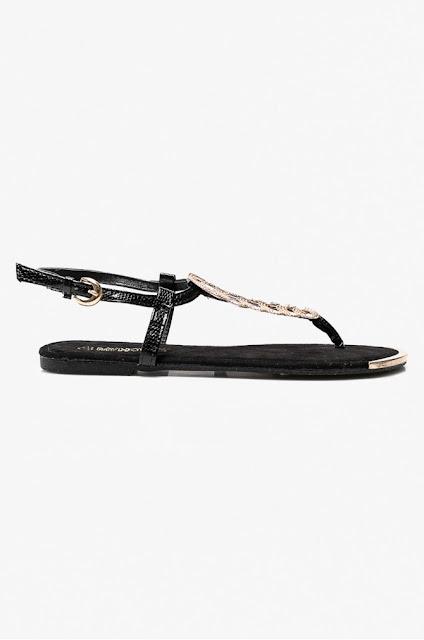 sandale negre de vara cu accesoriu auriu