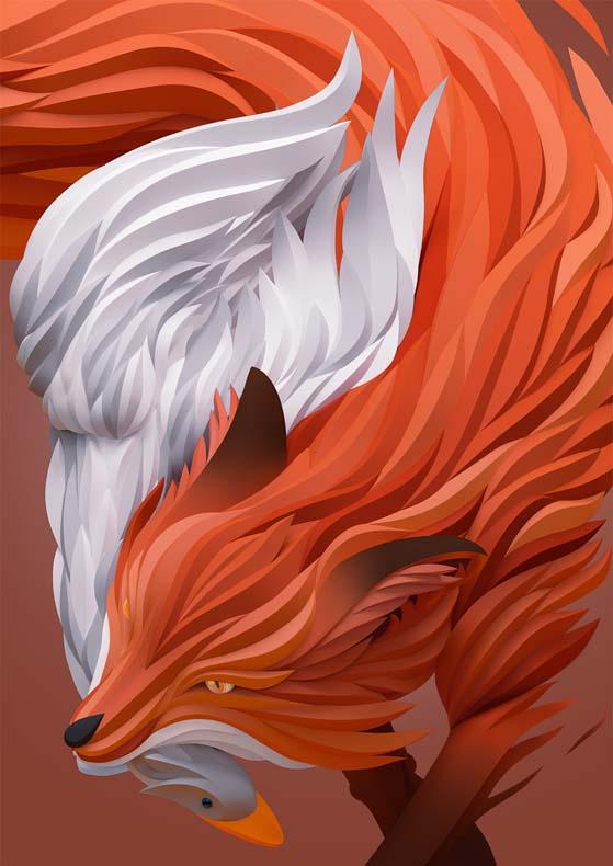 Elegantes representaciones dimensionales de animales y individuos por Maxim Shkret