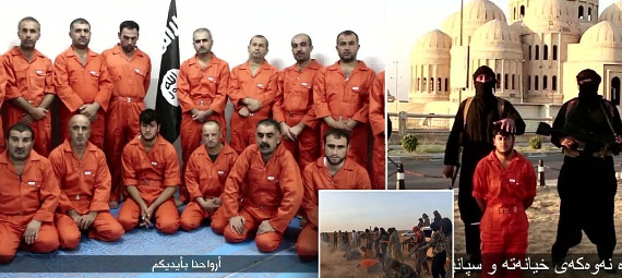 Hours after executing 300 Syrian soldiers, ISIS parade capatured Kurds, then beheads one