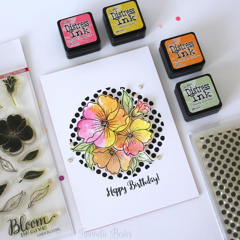 Flowers & polka dot birthday card - Mudra - Hannelie Bester