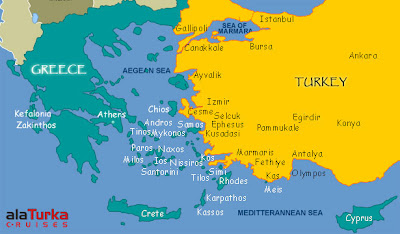 Map of Greece and Turkey cruise spots